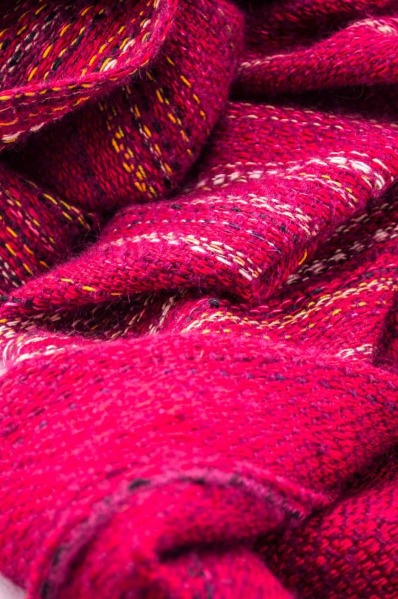 Throw blanket created with violet mohair, cashmere, red wool, cotton, and linen.   Technique: Throw blanket hand-woven in a traditional way on non-mechanical looms in the 7th arrondissement of Paris in France.  Finishes: Right edge. Double stitching.  Size: 150 x 180 cm.  Single piece / 1 copy only.