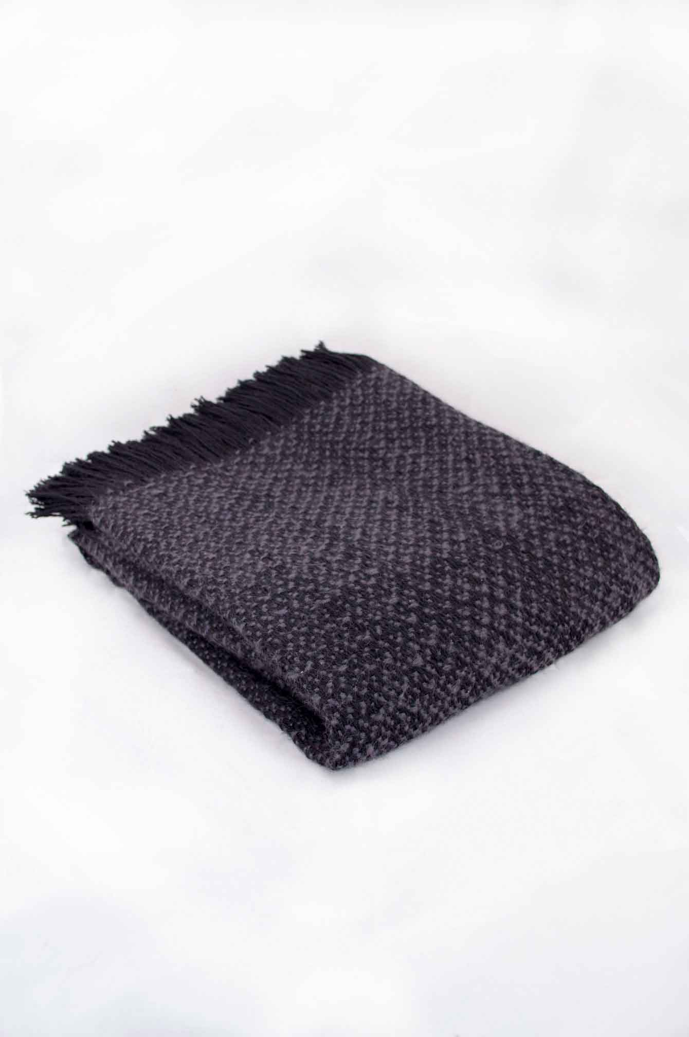 Throw blanketcreated with blue lavendermohair,and black wool.  Technique:Throw blanket hand-woven in a traditional way on non-mechanical looms in the 7th arrondissement of Paris in France.  Finishes: Right edge. Double stitching. 2 edges with 9 cm high of wool fringes.  Size: 140 x 220 cm.  Single piece / 1 copy only.